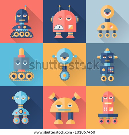 Set of robots in flat style. - stock vector