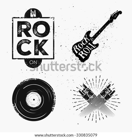 Starburst Signs Template Set Rock Roll Music Elements Stock Photo Vector