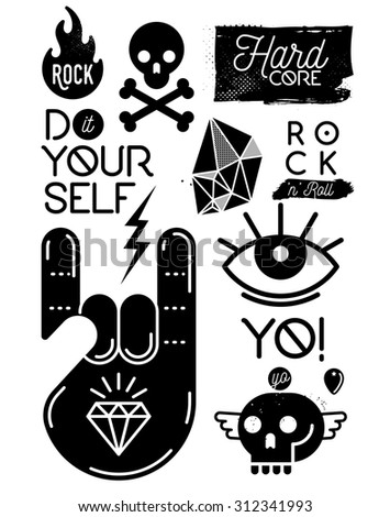 Set of rock music punk metal design elements