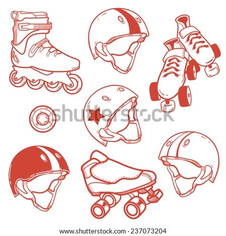 set of roller skates helmets wheell - stock vector
