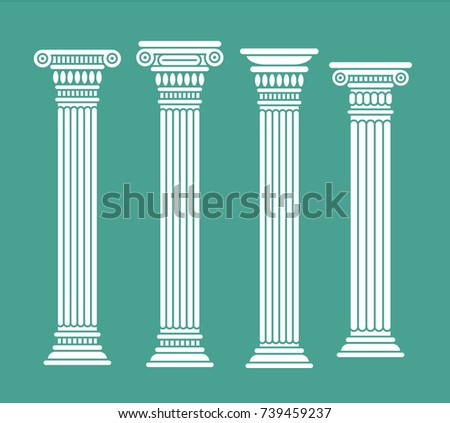 Set of roman and greek classic columns. Ancient. Vector illustration, isolated. White color