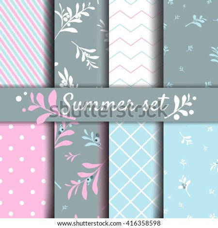 Set of romantic backgrounds Vector seamless patterns collection.Floral wallpaper - stock vector