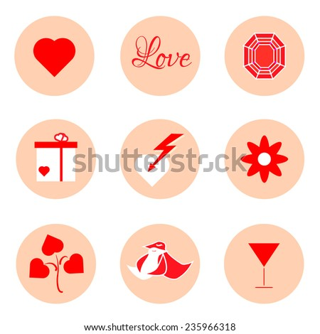Valentines Day Icon Set 14 February Stock Vector 251329645