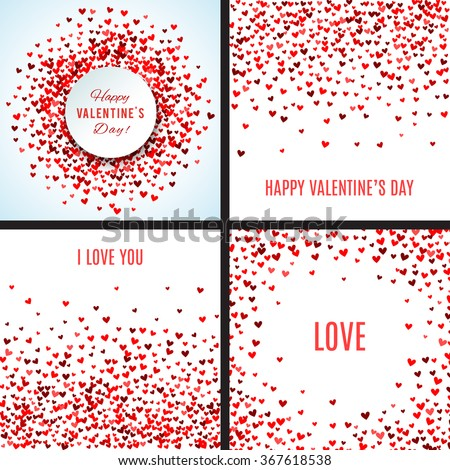 Set of romantic red heart backgrounds. Vector illustration for holiday design. Many flying hearts on white background. For wedding card, valentine's day greetings, lovely frame. - stock vector