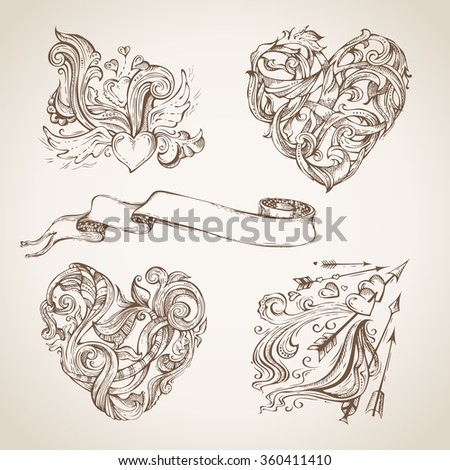 Set of romantic sketch design elements. Vintage hearts, arrows and ribbon. Hand-drawn Valentine's template. - stock vector