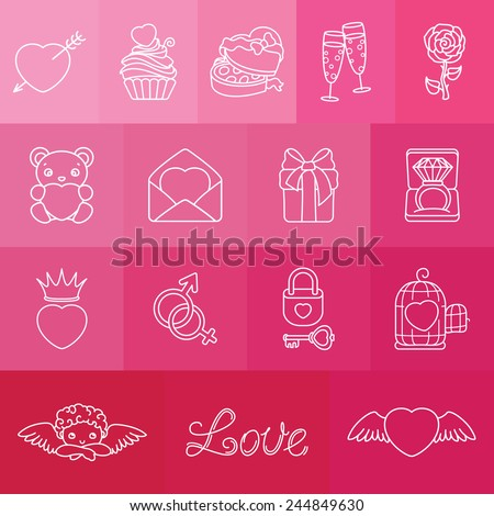 Set of romantic symbols for Valentin's Day. This image is a vector illustration and can be scaled to any size without loss of resolution.  - stock vector