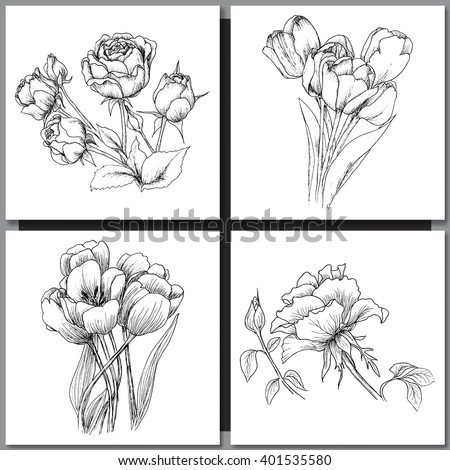 Set of Romantic vector background with hand drawn flowers isolated on white.  Ink drawing illustration. Line art sketching. Floral design for wedding invitations, cards, congratulations, branding. - stock vector