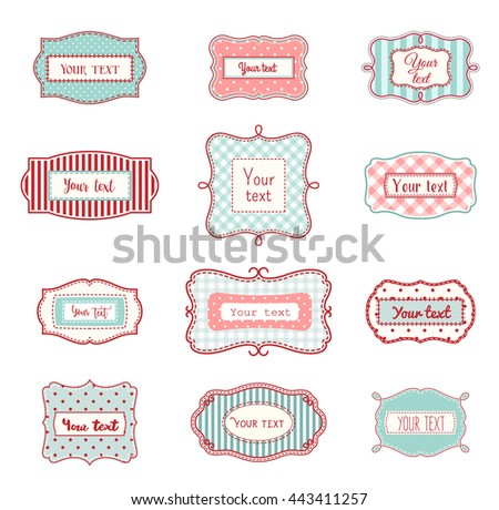Set Of Romantic Vintage Hand Drawn Labels In Farmhouse Style Red And Light Blue