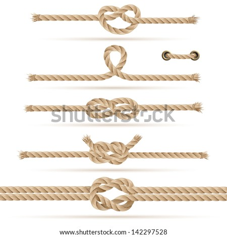Set of ropes and knots, vector illustration (with strokes attached in eps for additional use) - stock vector