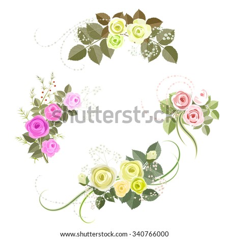 Set of rose design elements isolated on white background. It can be used for greeting card and invitation. Pink and yellow roses. - stock vector