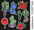set of roses and cactus patches ...