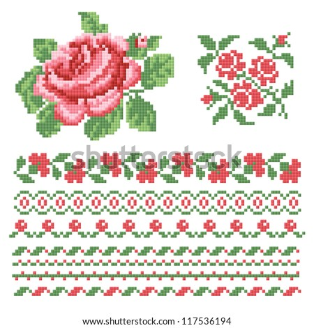 set of roses,lappet - stock vector