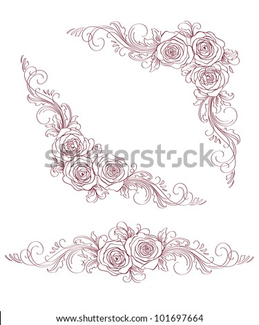 Set of roses. Vector illustration. - stock vector