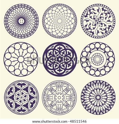 Set of rosetta ornamet - stock vector