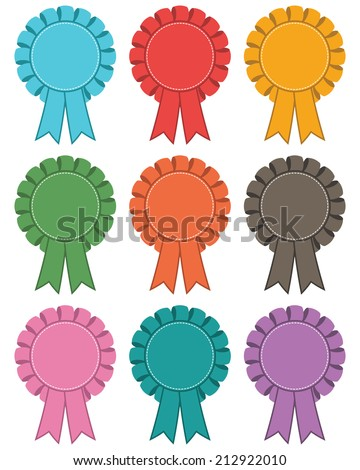 set of rosette decorations, 9 variations isolated on white - stock vector
