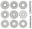 Set of rosettes. Guilloche design elements. Ornaments and decorative lines vector collection for currency or certificate design. - stock vector