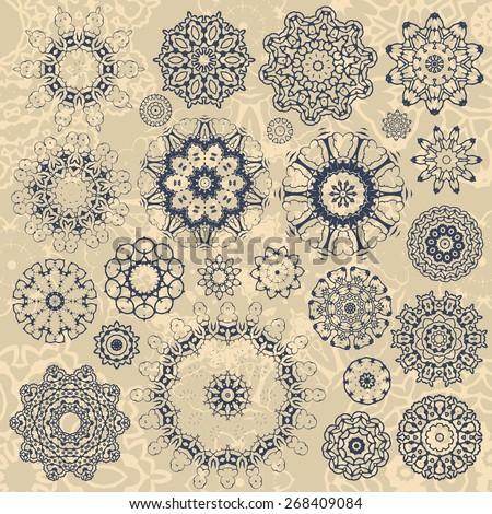 Set of rosettes. vector illustration - stock vector