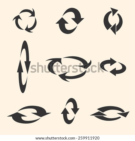 Set of Rotating Arrows. Refresh, Reload, Recycle Sign - stock vector