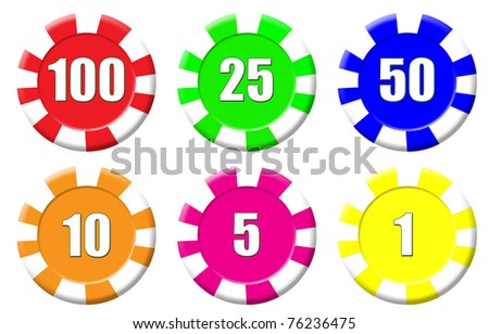 Set of roulette chips isolated on white, vector illustration - stock vector