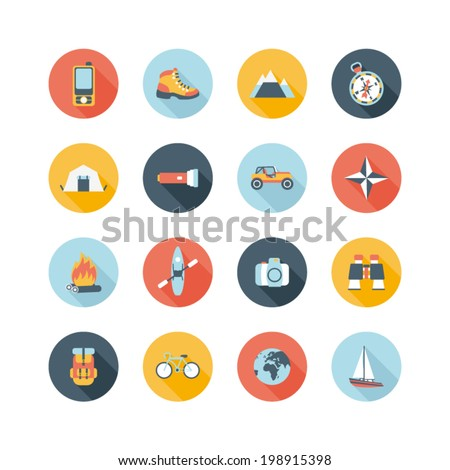 set of round adventure traveling icons - stock vector