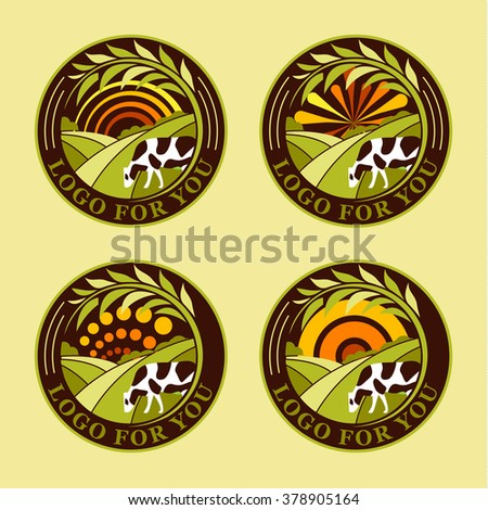 Set of round agricultural vector logos. Farm icons. Dairy products symbols. Fresh meat signs. Green meadow illustration. Nature image. Organic products. Eco label. Rural landscape.