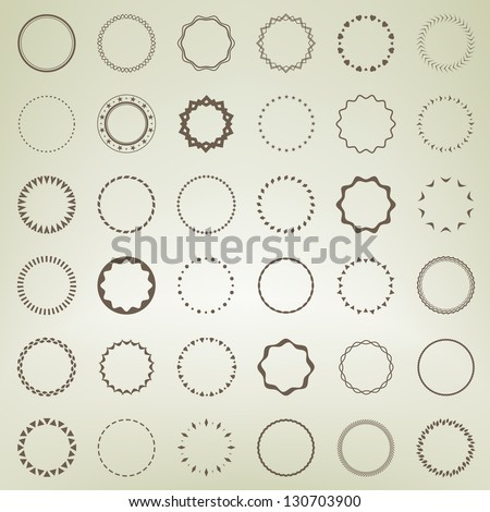Set of round and circle ornament patterns as copyspace design eps10 vector element set collection - stock vector