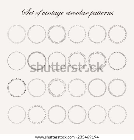 Set of round and circular decorative  vintage patterns for design frameworks and banners - stock vector