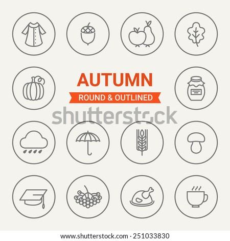 Set of round and outlined autumn icons. Coat, Acorn, Fruits, Leaf, Pumpkin, Jam, Rain, Umbrella, Harvest, Mushroom, Study, Berry, Thanksgiving Day, Tea. Perfect for web pages, mobile applications - stock vector