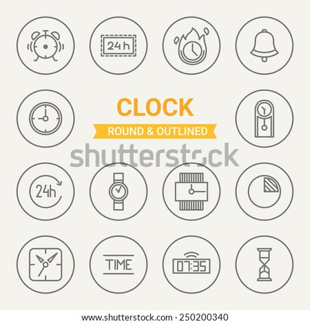 Set Round Outlined Clock Icons Alarm Stock Photo (Photo, Vector ...