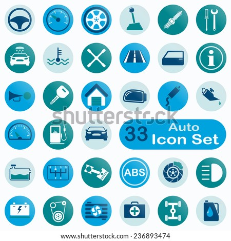 Set of round auto icons for app and web design - stock vector