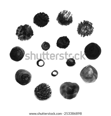 Set of round brush patterns/ Hand drawn vector texture/ Design elements isolated on white background - stock vector