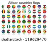 set of round buttons with flags of Africa vector illustration - stock photo