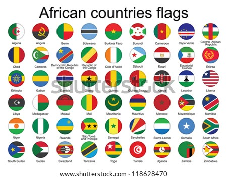 set of round buttons with flags of Africa vector illustration - stock vector