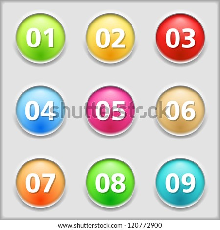Set of round buttons with numbers, vector eps10 illustration - stock vector