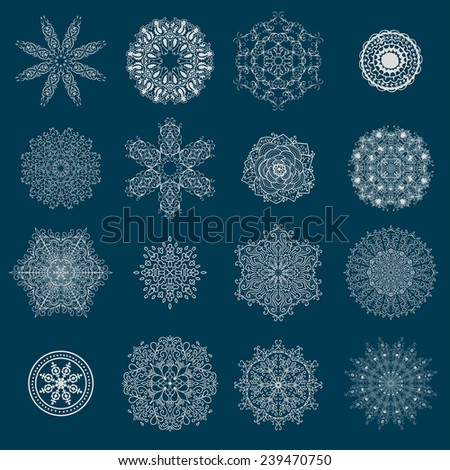 Set of round calligraphic patterns or snowflakes. Vector illustration - stock vector