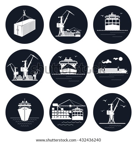 Set of Round Cargo Icons, Dry Cargo Ship and Container Ship, Unloading Containers from a Cargo Ship in a Docks with Cargo Crane, Container ,  International Freight Transportation, Vector Illustration - stock vector