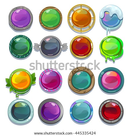 Set of round cartoon buttons for game or web design, isolated on white background. - stock vector