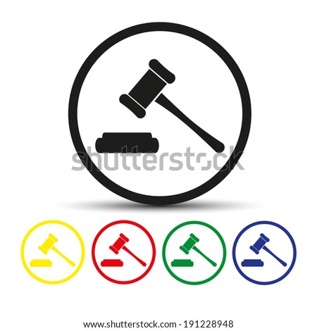 Set of round colored buttons. vector illustration Hammer judge icon - stock vector