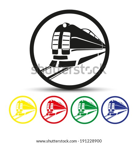 Set of round colored buttons. vector illustration Vector icon Train outline - stock vector