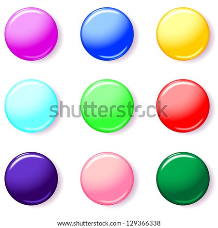 Set of round 3D button of different color