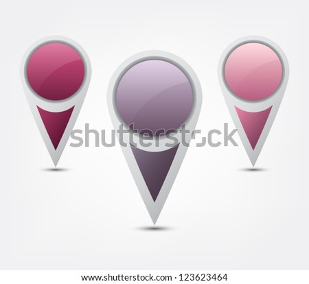 Set of round 3D map pointer icons / buttons for websites (UI) or applications (app) for smartphones or tablets - stock vector