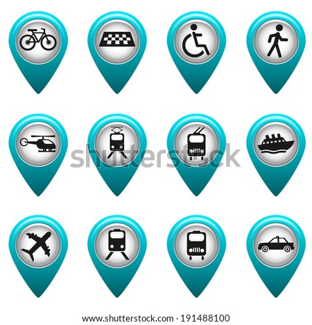 Set of round 3D transport pointers - stock vector