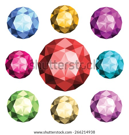 Set of round diamonds isolated on white background. Top view. Emerald, ruby, rhinestone, aquamarine, amethyst, saphire, brilliant, swarovski crystals in red, blue, green, yellow, purple color. Vector.