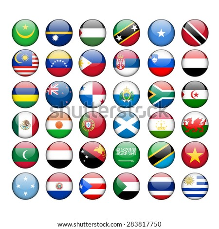 Set of Round Flags world - stock vector
