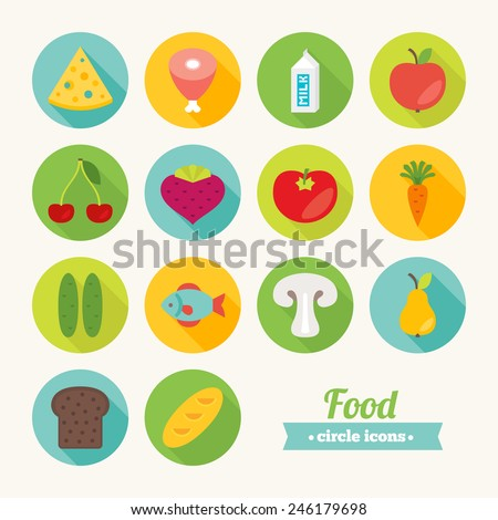 Set of round flat food icons. Cheese, Ham, Milk, Apple, Cherry, Beet, Tomato, Carrot, Cucumber, Fish, Mushroom, Pear, Bread, Loaf. Perfect for web pages, mobile applications, printing production - stock vector