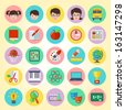 Set of round  flat icons of different school subjects and persons - stock vector