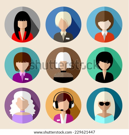 Set of round flat icons with women. vector