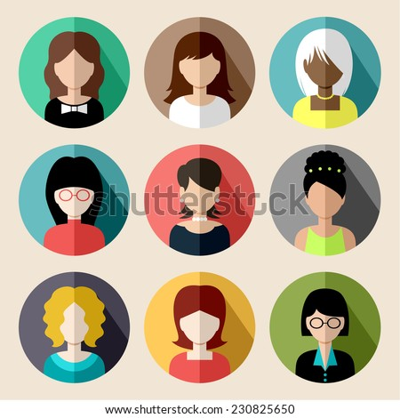 Set of round flat icons with women. Vector - stock vector