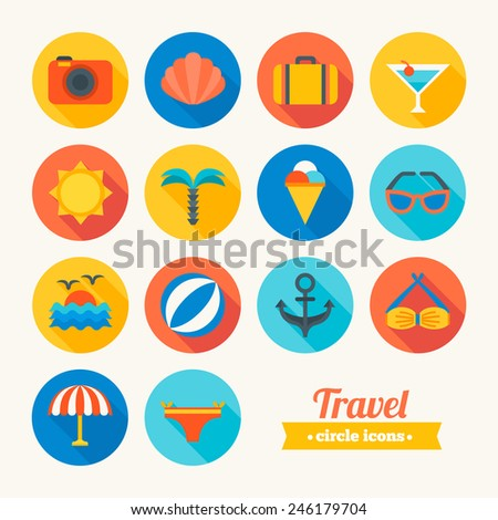 Set of round flat travel icons. Photo, Shell, Case, Cocktail, Sun, Palm, Ice Cream, Sunglasses, Sea, Ball, Anchor, Bikini, Umbrella. Perfect for web pages, mobile applications, printing production - stock vector