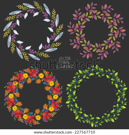 Set of round floral graphic design elements - stock vector